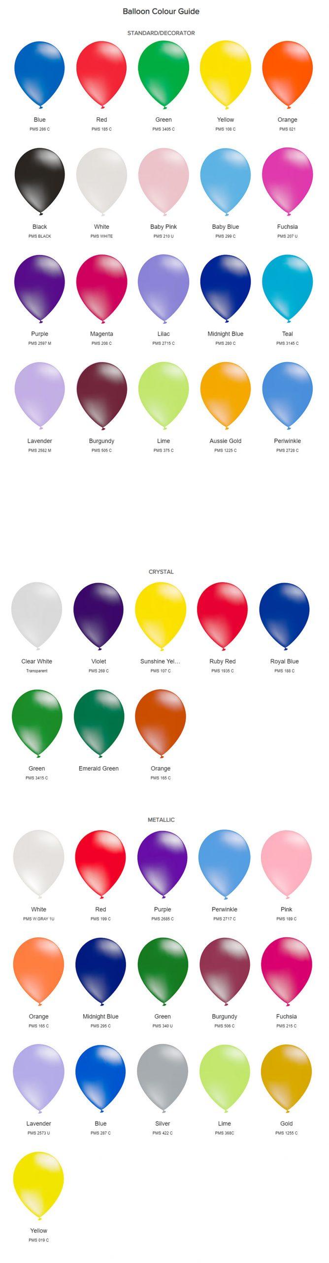 Printed Balloons Colour Chart